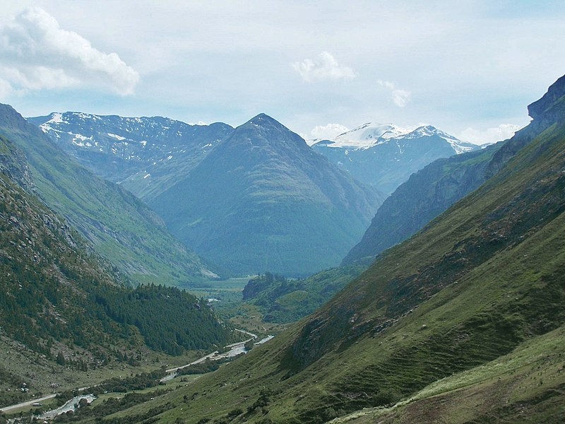 Panoramic sight from the heights of Bonneval-sur-Arc of the very beginning of the Maurienne valley, in Savoie, France. Next village is Bessans.