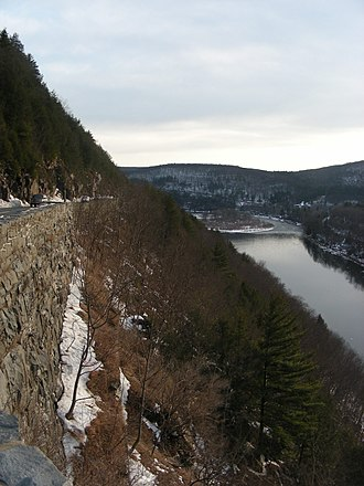 New York State Route 97 - NY 97 atop the cliffs alongside the Delaware River in Hawk's Nest