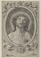 Head of Christ with crown of thorns, in an oval frame with a ribbon above and banderole below, after Reni MET DP841299.jpg