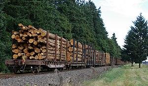 Portland and Western Railroad -  Log Train originating in Rainier, Oregon