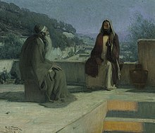 painting of Jesus and an elder with long beard sitting talking together on a rooftop