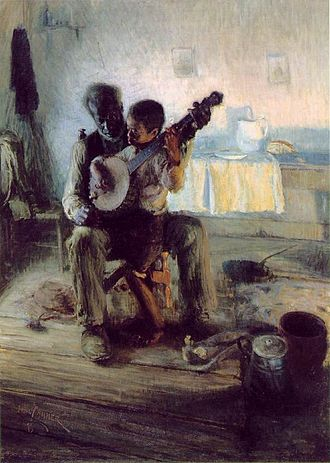 "African-American music - ""The Banjo Lesson,"" by Henry Ossawa Tanner, 1893. Oil on canvas, 49"" × 35½"". Hampton University Museum"