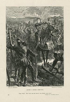 "Henry V (play) - A print of Act III, Scene i: ""Once more unto the breach, dear friends!"""