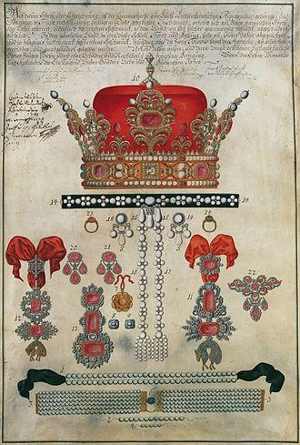Ducal hat of Liechtenstein - Ducal hat and insignia of the princely Liechtenstein primogeniture (gouache from 1756, Liechtenstein Museum)
