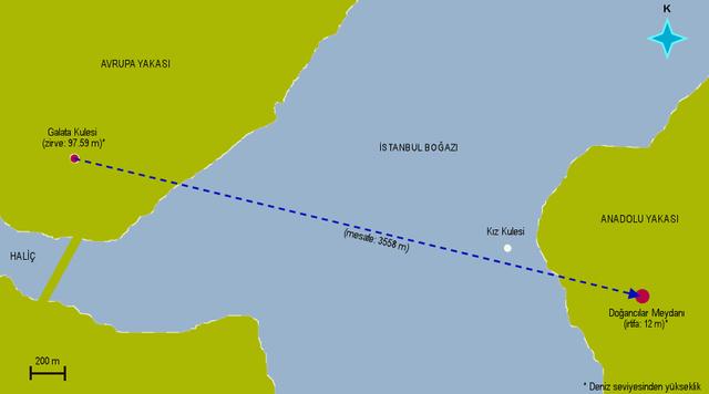 Ahmed Çelebi feltételezett repülési útvonala - Forrás: Wikipédia
