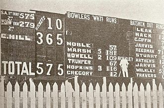Clem Hill - Hill standing in front of the Adelaide Oval scoreboard after scoring 365 against New South Wales in 1900–01