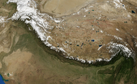 A satellite image showing the arc of the Himalayas
