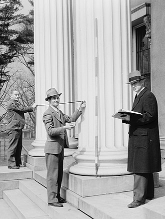 Heritage Documentation Programs - HABS team in 1934 measuring the Kentucky School for the Blind.