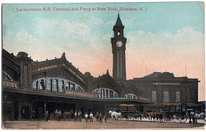 Delaware, Lackawanna and Western Railroad - The Delaware, Lackawanna and Western Railroad's Hoboken Terminal is the only active surviving railroad terminal alongside the Hudson River and is a nationally recognized historical site.
