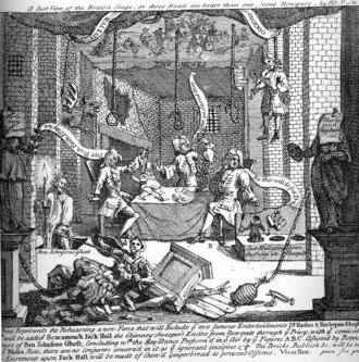 "Robert Wilks - A print by William Hogarth entitled A Just View of the British Stage from 1724 depicting Robert Wilks, Colley Cibber, and Barton Booth rehearsing a pantomime play with puppets enacting a prison break down a privy.  The ""play"" is composed of nothing but special effects, and the scripts for Hamlet, inter al., are toilet paper."