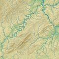 Hunsrück (Relief und Gewässer) - Deutsche Mittelgebirge, Serie A-de.png