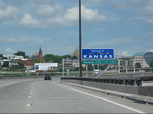 Kansas City, Kansas - Interstate 70 as it enters Kansas, crossing the Kansas River.