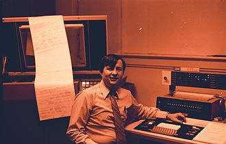 IBM 1132 - IBM 1130 with IBM 1132 printer in the background, its acoustic cover open.