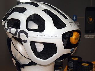 Bicycle helmet - Example of shock detector in bicycle helmet to signal when a crash has occurred