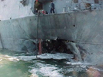 Blue-water navy - A blue-water navy still remains susceptible to asymmetric threats, example being the USS Cole bombing in October 2000