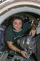 ISS-22 Maxim Suraev works in the Pirs Docking Compartment.jpg