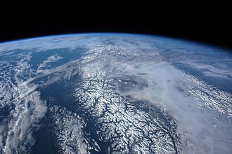 Coast Mountains - Coast Mountains from the ISS looking north