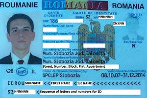 Romanian identity card - Image: Idrou