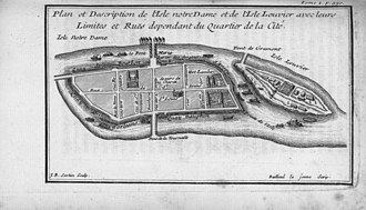 "Île Louviers - The Isle Louvier upstream of the ""Isle Notre-Dame"" (the Île Saint-Louis) in a map of 1742"