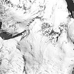 Iliamna Volcano, mountain glaciers with bergschrund, August 25, 1964 (GLACIERS 6570).jpg