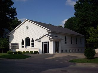 """Church of Christ (Hancock) - Location of the former """"basement church"""" belonging to the Church of Christ; now occupied by a Restoration Branch."""