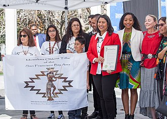 Ohlone - Members of the Muwekma Ohlone tribe attend a proclamation of the first official Indigenous Peoples' Day in San Francisco, October 2018.