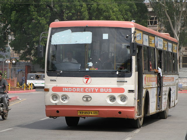 A bus operated by Atal Indore City Transport Services Ltd in Indore.