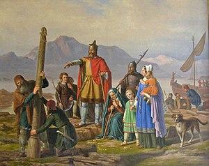 History of Iceland - Ingólfr Arnarson commands his high seat pillars to be erected in this painting by Peter Raadsig.