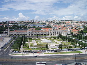 The Jerónimos Monastery, seen from the Padrão dos Descobrimentos