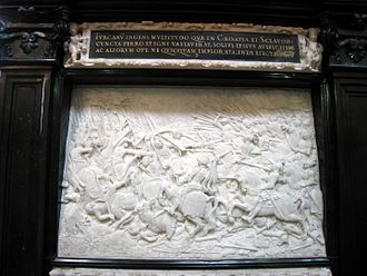 Battle of Krbava Field - Cenotaph of Maximilian I in Hofkirche, Innsbruck, depicting the Battle of Krbava Field