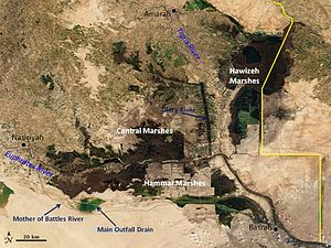 Glory River - A map of the Mesopotamian Marshes showing the Glory River.