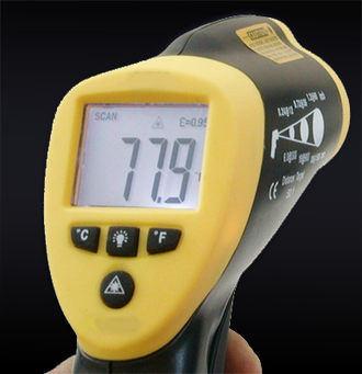 Ghost hunting - A handheld infrared thermometer of the type used by some ghost hunters