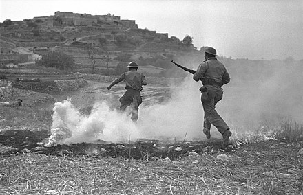 Israeli soldiers attack Sasa during Operation Hiram, October 1948. Israeli soldiers in battle with the Arab village of Sassa.jpg