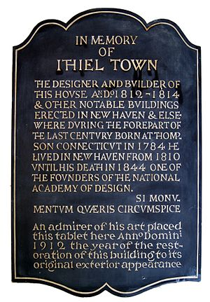Ithiel Town - Memorial plaque to Town, Center Church on the Green, New Haven