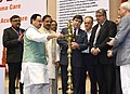 J.P. Nadda lighting the lamp to inaugurate the 3rd International Congress of the World Coalition for Trauma Care and 8th Annual Conference of the Indian Society for Trauma and Acute care, in New Delhi.jpg