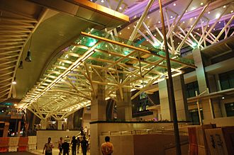 Southern Integrated Gateway - Entrance to JB Sentral, lit at night.