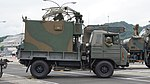 JGSDF Type 73 chugata truck(08-0080) with JS-P5 shelter of JTPS-P9 radar unit(driving mode) right side view at JMSDF Maizuru Naval Base July 29, 2017.jpg