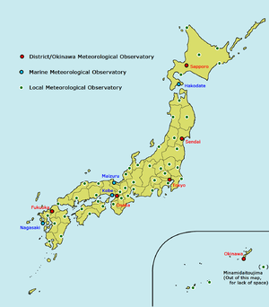 Local Meteorological Observatory - Locations of the JMA Meteorological Observatories including the LMOs
