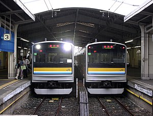 Tsurumi Line - Two Tsurumi Line 205-1100 series trains at Tsurumi Station, May 2006