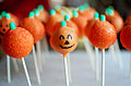 Jack-o'-lantern pumpkin cake pops, October 2011.jpg
