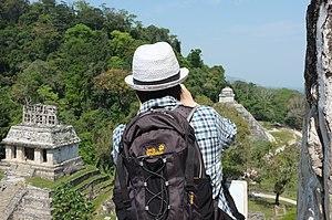 Jack Wolfskin - A Jack Wolfskin rucksack being worn by a tourist.