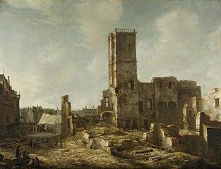 Les ruines du vieil hôtel de ville d'Amsterdam après l'incendie du 7 juillet 1652