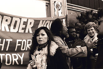 Glide Memorial Church - Church worker Janice Mirikitani and Rev. Williams at a protest of the demolition of the International Hotel. Supervisor Dorothy von Beroldingen is at right