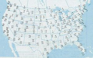 Winter 1985 cold wave - A map of the United States detailing the record low temperatures for various cities on January 21, 1985.