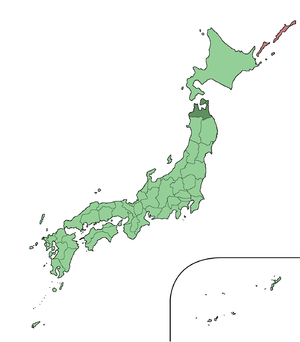 Tsugaru clan - Modern-day map of Japan. Aomori Prefecture, which contains the former Hirosaki and Kuroishi territories, is highlighted in dark green.