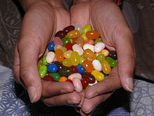 Jelly beans held in the hands