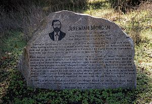 Morgan Territory - Historic monument honoring Jermiah Morgan at its Morgan Red Corral property on Morgan Territory Road, with text prepared by Morgan Territory historian Anne Homan.