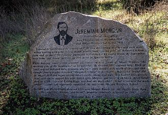 Morgan Territory - Historic monument honoring Jermiah Morgan at its Morgan Red Corral property on Morgan Territory Road, with text prepared by Morgan Territory historian Anne Homan.