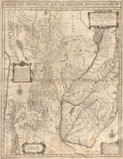 Kaart met de jezuïetenprovincie van Paraguay en aangrenzende gebieden, met de belangrijkste missies en missiereizen.  De Chiquitos-missies zijn afgebeeld in bossen tussen de rivieren San Miguel in het westen en Paraguay in het oosten.  Een pad leidt van Santa Cruz de la Sierra naar San Xavier.
