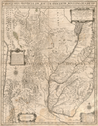 Martin Schmid - Map from 1732 depicting Paraguay and Chiquitos with missions